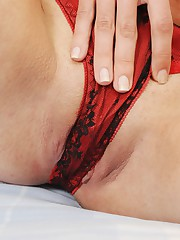 See Felicia Straddling Panties With Her Wet Pussy