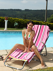 Melissa Strips Bikini to Lube and Spread by Pool – 7/29/2011