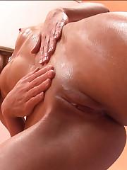 Paula Gives herself a Body Massage