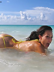 Ocean is the most favorite place for this delicious young tight wet pussy slut